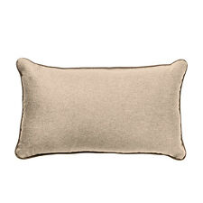 """Latte 12"""" x 20"""" OBLONG Wool Feel Soft Fabric Piped Cushions Filled with Pads"""