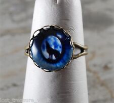 LTV Creation Wolf Eye Brass Ring Glass Cabochon Light Weight Adjustable Jewlery