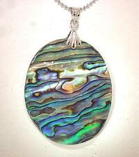 """35mm New Zealand Oval Paua Abalone Pendant With 18k WGP Bead Necklace 18"""""""