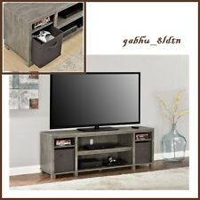 "New Reclaimed Wood Gray Woodgrain 65"" TV Media Console Stand w Mocha Fabric Bins"