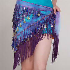 Women Belly Dance Costume Hip Scarf Tribal  Tassel Belt&Gold Coins Sequins Cool