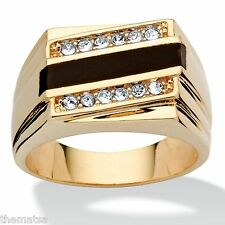 14K GOLD GP EMERALD CUT ONYX CRYSTAL ACCENT  MENS RING SIZE  8 9 10 11 12 13