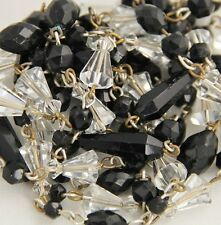 """ANTIQUE ART DECO JET BLACK CLEAR GLASS CRYSTAL HAND WIRED FLAPPER NECKLACE - 62"""""""