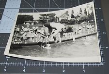 MID AIR Dive IN AIR 1941 Swimmer Young Swimsuit Man Vintage Gay Snapshot PHOTO 2