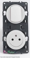 Interrupteur+prise de courant 2P+T 16A affleurante blanc 67001+67131+68001+80252