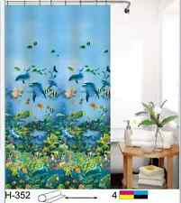 "NEW COMMERCIAL PACKAGED 71"" x 71"" CORAL FISH & DOLPHIN SHOWER CURTAIN W/ HOOKS"