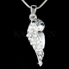 w Swarovski Crystal Snowy Owl Wise Teacher Bird Charm Chain Necklace Jewelry New