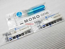 1 Plastic Eraser + 4 refills, Tombow Mono ONE 7cm Mini Eraser Pen Light Blue