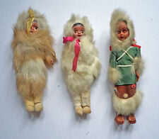 Three Canadian / Inuit Costume Dolls. One papoose with twins. 1960's