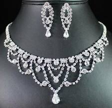 FAIR LADY CLEAR AUSTRIAN RHINESTONE CRYSTAL NECKLACE EARRINGS SET BRIDAL N1422
