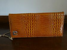 Vintage PIERRE CARDIN Tan Crocodile Leather Clutch Shoulder Bag 1960s 70s