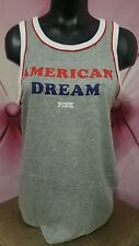 Victorias Secret PINK Tank Top Marled Gray American Dream Americana Shirt S