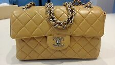 Auth CHANEL Beige Lamb Skin DOUBLE FACE Chain Shoulder Bag Silver HW