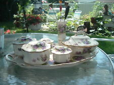 VINTAGE VICTORIAN 12 PIECE ENGLISH CHINA VIOLET VANITY SET WITH TRAY PERFECT