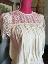 VTG Drop Waist Flapper Chiffon DecO  lace Gatsby Party Wedding dress 34 S M