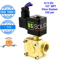 """U. S. Solid 1/2"""" Brass Electric Solenoid Valve 12V DC Normally Closed Air Water"""