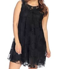 ONE WORLD WOMEN'S PLUS SIZE BLACK CROCHET LACE SLEEVELESS LINED SWING DRESS 2X