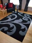 Modern Small Extra XXL Large Black And Silver Grey Floor Carpets Rugs Runner Mat