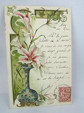 cpa illustrateur fantaisie vase fleur art nouveau lys