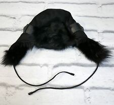 FLUFFY: Karl Donoghue Black Toscana Lambskin Shearling Trapper Hat New