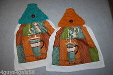 Two Hanging Kitchen Towels CROCHET TOP Teal Brown COFFEE LATTE MOCHA