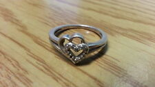Beautiful Two Hearts Link Lovers Diamond Ring 925 Sterling Silver *Size 7*F683