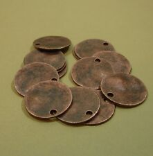 10 pcs- Antiqued Copper Color Wavy Disc Stamping Blanks Charms Round