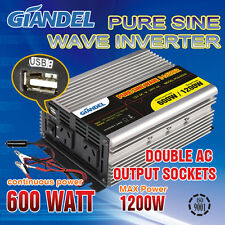 Large shel Pure Sine Wave Inverter 600W  /1200W 12V-240V Car Plug Cable1 Amp USB