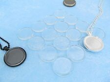 "10 Round Glass Tiles - 1 Inch Clear - 2 Flat Sides - Craft Pendants - 1"" 25mm"