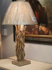 Designer Driftwood Contemporary Table Lamp With Natural Beige Shade H:61cm
