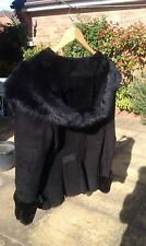 Genuine Toscana sheepskin / fur jacket in black with exaggerated hood - new!