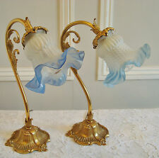 LOVELY PAIR VINTAGE FRENCH SWAN NECK LAMPS LIGHTS BLUE FRILL SHADES PAIRE LAMPES