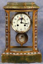 French Cloisonne Champleve Bronze Green Onyx Crystal Regulator Clock 19 Century