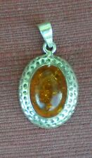 Elegant Amber Pendant w/ 925 Sterling Silver from Thailand