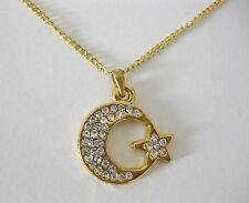 "NEW TURKISH MOON & STAR NECKLACE ON 18"" GOLD CHAIN WITH DIAMANTE STONES."
