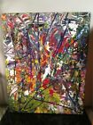 original abstract painting on canvas 16 x 20 by artist musk yai~double sided~art