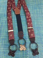 CAS SILK SUSPENDERS LEATHER AND BRASS GERMANY GOLD &  RED PRINT FABRIC