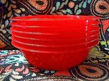 Lot of 6 Red  Microwaveable   21 ounce bowls