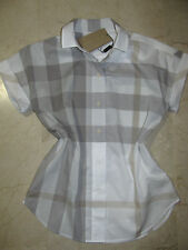 BURBERRY Mineral Grey Check Shirt Top Tunic Blouse Sz.XS/S