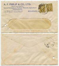 RHODESIA 1922 ADMIRALS 1 1/2d x 2 PRINTED ENV.A.F PHILIP BULAWAYO..BELGIAN CONGO