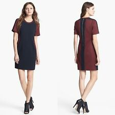 Anthropologie McGinn Crace Dress L EE. UU. 8-10 Reino Unido 12-14 Bloque De Color Rojo Azul Marino Jersey