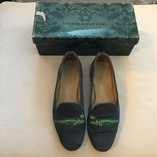 "Stubbs and Wootton Needlepoint ""Whale"" Slippers Loafers Shoes"