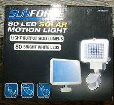 SunForce 80 LED Solar Motion Light Output 900 Lumens Sensor Weatherproof NEW
