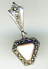 925 Sterling Silver Pale Pink Mother of Pearl & Marcasite Pendant  30mm length