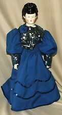 "Vintage China Doll Hand Made Sequin Dress & Stand 18"" Tall"