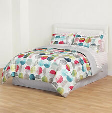 Blue Red Yellow Polka Dot Striped 6 piece Reversible Comforter Set Twin Size