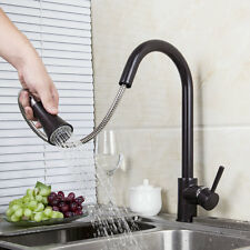 Swivel Oil Rubbed Bronze Kitchen Sink Mixer With Pull Down Sprayer Faucet Mixer
