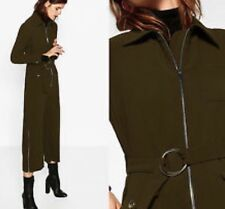 ZARA Zipped Jumpsuit Belted Boilersuit Khaki Olive XS 7934/778
