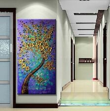 """MODERN ABSTRACT HUGE WALL ART OIL PAINTING ON CANVAS-Gold tree 48"""" (no framed)"""