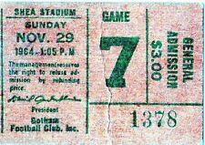 1964 AFL KANSAS CITY CHIEFS @ NY JETS TICKET STUB - INAUGURAL SEASON AT SHEA